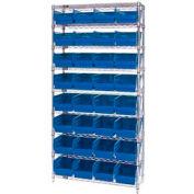 "Quantum WR9-208 Chrome Wire Shelving with 32 6""H Plastic Shelf Bins Blue, 36x18x74"