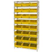 "Quantum WR9-210 Chrome Wire Shelving with 24 6""H Plastic Shelf Bins Yellow, 36x18x74"