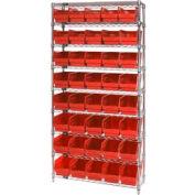 "Quantum WR9-206 Chrome Wire Shelving with 40 6""H Plastic Shelf Bins Red, 36x24x74"