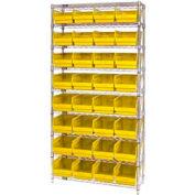 "Quantum WR9-214 Chrome Wire Shelving with 32 6""H Plastic Shelf Bins Yellow, 36x24x74"