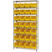 Chrome Wire Shelving With 28 Giant Plastic Stacking Bins Yellow, 36x14x74