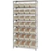 Chrome Wire Shelving With 28 Giant Plastic Stacking Bins Ivory, 36x14x74