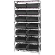 Chrome Wire Shelving With 14 Giant Plastic Stacking Bins Black, 36x14x74