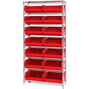 Chrome Wire Shelving With 14 Giant Plastic Stacking Bins Red, 36x14x74