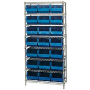 Chrome Wire Shelving With 21 Giant Plastic Stacking Bins Blue, 36x18x74