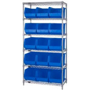 Chrome Wire Shelving With 15 Giant Plastic Stacking Bins Blue, 36x18x74