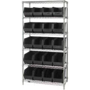 Quantum WR6-265 Chrome Wire Shelving With 20 Giant Plastic Stacking Bins Black, 36x18x74