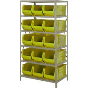 "Quantum 2475-953 Steel Shelving with 15 24""D Hulk Hopper Bins Yellow, 24x36x75"