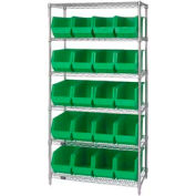 Quantum WR6-265 Chrome Wire Shelving With 20 Giant Plastic Stacking Bins Green, 36x18x74