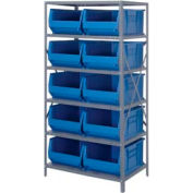 "Quantum 2475-954 Steel Shelving with 10 24""D Hulk Hopper Bins Blue, 24x36x75"