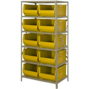"Quantum 2475-954 Steel Shelving with 10 24""D Hulk Hopper Bins Yellow, 24x36x75"