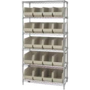 Quantum WR6-265 Chrome Wire Shelving With 20 Giant Plastic Stacking Bins Ivory, 36x18x74