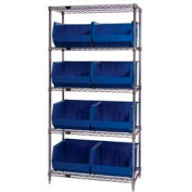 Chrome Wire Shelving With 8 Giant Plastic Stacking Bins Blue, 36x18x74
