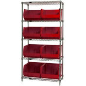 Chrome Wire Shelving With 8 Giant Plastic Stacking Bins Red, 36x18x74