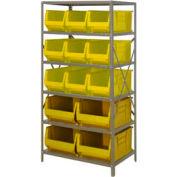 "Quantum 2475-953954 Steel Shelving with 13 24""D Hulk Hopper Bins Yellow, 24x36x75"