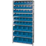 Quantum QSBU-230240 Steel Shelving With 48 Giant Stacking Bins Blue, 12x36x75
