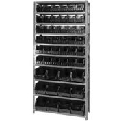 Quantum QSBU-230240 Steel Shelving With 48 Giant Stacking Bins Black, 12x36x75