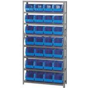 Quantum QSBU-239 Steel Shelving With 48 Giant Stacking Bins Blue, 12x36x75