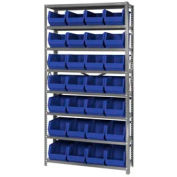 Quantum QSBU-240 Steel Shelving With 28 Giant Stacking Bins Blue, 12x36x75