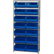 Quantum QSBU-250 Steel Shelving With 14 Giant Stacking Bins Blue, 12x36x75
