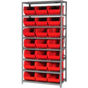 Quantum QSBU-255 Steel Shelving With 21 Giant Stacking Bins Red, 18x36x75