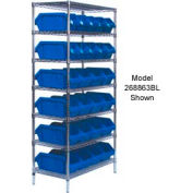 Quantum W7-12-24 Chrome Wire Shelving With 24 QuickPick Double Open Bins Blue, 18x36x74