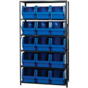 Quantum MSU-533 Steel Shelving With 15 Magnum Giant Hopper Bins Blue, 18x42x75