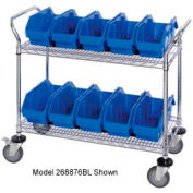 "Quantum WRC2-1836-1265 Chrome Wire Mobile Cart With 10 QuickPick Double Open Bins Blue, 36""x18""x38"""