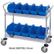 """Quantum WRC2-1836-1265 Chrome Wire Mobile Cart With 10 QuickPick Double Open Bins Blue, 36""""x18""""x38"""""""