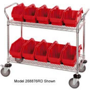"Quantum WRC2-1836-1285 Chrome Wire Mobile Cart With 8 QuickPick Double Open Bins Red, 36""x18""x38"""