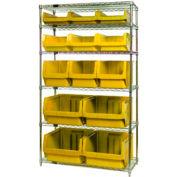 Quantum WR6-13-MIX Chrome Shelving With 13 Magnum Giant Hopper Bins Yellow, 18x42x74