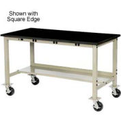 """72""""W x 36""""D Mobile Production Workbench with Power Apron - Phenolic Resin Safety Edge - Tan"""