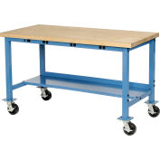 "72""W x 30""D Mobile Production Workbench with Power Apron - Maple Butcher Block Square Edge - Blue"