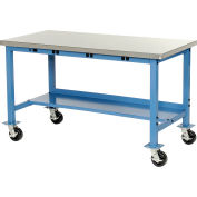 60X30 Stainless Square Edge Mobile Power Apron Production Bench Blue