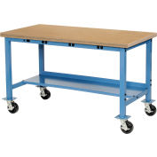 "60"" W x 30"" D Maple Safety Edge Mobile Power Apron Production Bench Blue"