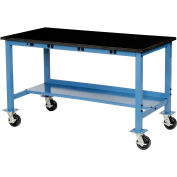 """72""""W x 30""""D Mobile Production Workbench with Power Apron - Phenolic Resin Safety Edge - Blue"""