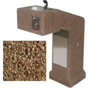 Outdoor Drinking Fountain ADA Accessible - Concrete Tan River Rock