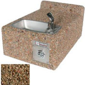 Concrete Wall-Mount Outdoor Drinking Fountain ADA Accessible - Tan River Rock