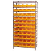 "Chrome Wire Shelving with 55 4""H Plastic Shelf Bins Yellow, 36x14x74"