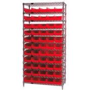 "Chrome Wire Shelving with 55 4""H Plastic Shelf Bins Red, 36x14x74"