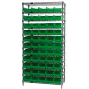 "Chrome Wire Shelving with 55 4""H Plastic Shelf Bins Green, 36x14x74"