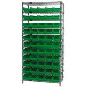 "Chrome Wire Shelving with 55 4""H Plastic Shelf Bins Green, 36x14x74"