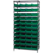 "Chrome Wire Shelving with 44 4""H Plastic Shelf Bins Green, 36x14x74"
