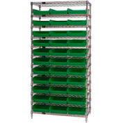 "Chrome Wire Shelving with 33 4""H Plastic Shelf Bins Green, 36x14x74"