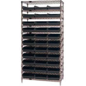 "Quantum WR12-109 Chrome Wire Shelving With 33 4""H Shelf Bins Black, 12x36x74"