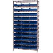 "Chrome Wire Shelving with 33 4""H Plastic Shelf Bins Blue, 36x18x74"