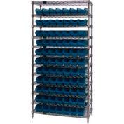 "Chrome Wire Shelving with 77 4""H Plastic Shelf Bins Blue, 36x24x74"