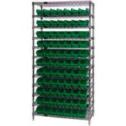"Chrome Wire Shelving with 77 4""H Plastic Shelf Bins Green, 36x24x74"
