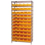 "Chrome Wire Shelving with 55 4""H Plastic Shelf Bins Yellow, 36x24x74"
