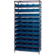 "Chrome Wire Shelving with 44 4""H Plastic Shelf Bins Blue, 36x24x74"